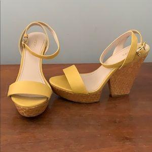 Yellow platform wedge heels
